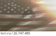 Купить «Flag of the United States waving against sky and clouds 4k», видеоролик № 26747485, снято 24 марта 2019 г. (c) Wavebreak Media / Фотобанк Лори