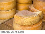 Купить «Головки фермерского сыра российского производства лежат на столе», фото № 26751601, снято 6 августа 2017 г. (c) Николай Винокуров / Фотобанк Лори