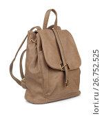 Купить «Brown leather backpack», фото № 26752525, снято 30 октября 2016 г. (c) Антон Стариков / Фотобанк Лори