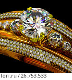 Engagement gold ring with jewelry gem. Стоковая иллюстрация, иллюстратор Gennadiy Poznyakov / Фотобанк Лори