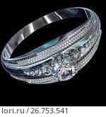 Купить «Silver engagement band with diamond gem.», иллюстрация № 26753541 (c) Gennadiy Poznyakov / Фотобанк Лори