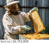 Купить «The beekeeper keeps in his hands wax frame with honey», фото № 26753809, снято 7 августа 2017 г. (c) Володина Ольга / Фотобанк Лори