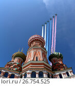 Купить «Russian military aircrafts fly in formation over Moscow(Saint Basil cathedral) during Victory Day parade, Russia», фото № 26754525, снято 6 августа 2017 г. (c) Владимир Журавлев / Фотобанк Лори