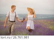 Beautiful couple on the lavender field. Стоковое фото, фотограф Кирилл Греков / Фотобанк Лори