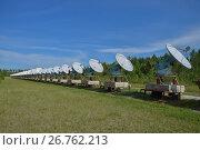 Радиоастрофизическая обсерватория в Бадарах Тункинской долины, Бурятия. Солнечный интерферометр, фото № 26762213, снято 14 июля 2017 г. (c) Геннадий Соловьев / Фотобанк Лори