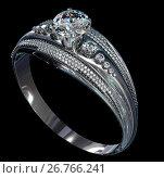Купить «Silver engagement band with diamond gem.», иллюстрация № 26766241 (c) Gennadiy Poznyakov / Фотобанк Лори