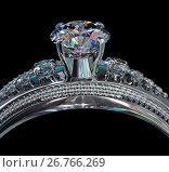 Купить «Silver engagement band with diamond gem.», иллюстрация № 26766269 (c) Gennadiy Poznyakov / Фотобанк Лори