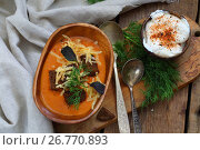 Купить «Vegetable soup with breadcrumbs and cheese», фото № 26770893, снято 19 августа 2017 г. (c) Марина Володько / Фотобанк Лори
