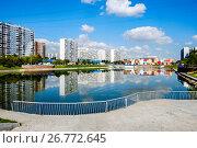 Купить «Москва, Братеевский пруд», фото № 26772645, снято 11 августа 2017 г. (c) glokaya_kuzdra / Фотобанк Лори