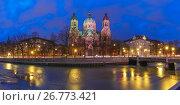 Saint Lucas Church at night in Munich, Germany (2017 год). Стоковое фото, фотограф Коваленкова Ольга / Фотобанк Лори