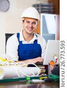 Купить «designer-constructor at work place», фото № 26773593, снято 18 февраля 2019 г. (c) Яков Филимонов / Фотобанк Лори