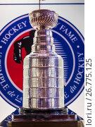 Canada, Ontario, Toronto, Hockey Hall of Fame, Stanley Cup room, the Stanley Cup. Стоковое фото, фотограф Walter Bibikow / age Fotostock / Фотобанк Лори