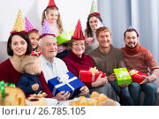 Купить «Happy large family making numerous photos», фото № 26785105, снято 27 мая 2019 г. (c) Яков Филимонов / Фотобанк Лори