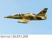 Купить «Самолет Aero L-39C (бортовой RA-1894G) в полете, аэродром Орловка», эксклюзивное фото № 26811209, снято 19 августа 2017 г. (c) Alexei Tavix / Фотобанк Лори