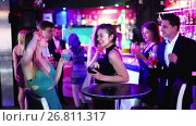 Купить «Colleagues dancing on corporate party with cocktails in hands», видеоролик № 26811317, снято 4 мая 2017 г. (c) Яков Филимонов / Фотобанк Лори