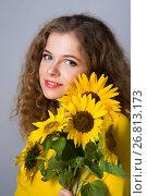 woman with sunflower flowers, Стоковое фото, фотограф Типляшина Евгения / Фотобанк Лори