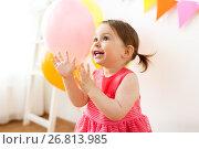 Купить «happy baby girl on birthday party at home», фото № 26813985, снято 3 апреля 2017 г. (c) Syda Productions / Фотобанк Лори