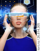 Купить «woman in virtual reality 3d glasses with charts», фото № 26814305, снято 17 ноября 2012 г. (c) Syda Productions / Фотобанк Лори