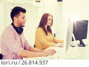 Купить «creative team with headphones and computer», фото № 26814937, снято 27 февраля 2016 г. (c) Syda Productions / Фотобанк Лори