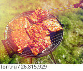 Купить «meat cooking on barbecue grill at summer party», фото № 26815929, снято 28 августа 2016 г. (c) Syda Productions / Фотобанк Лори