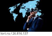 Купить «businessman in virtual reality headset over black», фото № 26816137, снято 9 марта 2017 г. (c) Syda Productions / Фотобанк Лори