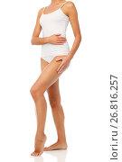 Купить «body of beautiful young woman in white underwear», фото № 26816257, снято 9 апреля 2017 г. (c) Syda Productions / Фотобанк Лори