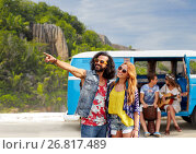 Купить «happy hippie couples and minivan on island», фото № 26817489, снято 27 августа 2015 г. (c) Syda Productions / Фотобанк Лори