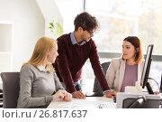 Купить «happy business team with papers in office», фото № 26817637, снято 1 октября 2016 г. (c) Syda Productions / Фотобанк Лори
