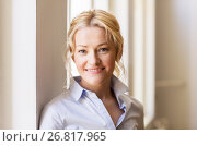 Купить «portrait of happy smiling beautiful blonde woman», фото № 26817965, снято 26 мая 2017 г. (c) Syda Productions / Фотобанк Лори
