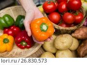 Купить «Woman holding fresh bell pepper at vegetable stall», фото № 26830573, снято 31 января 2017 г. (c) Wavebreak Media / Фотобанк Лори