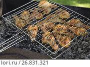 Купить «Шашлык из курицы на решетке», эксклюзивное фото № 26831321, снято 19 августа 2017 г. (c) Юрий Морозов / Фотобанк Лори