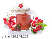 Homemade organic tomato sauce in a glass jar. Стоковое фото, фотограф Peredniankina / Фотобанк Лори