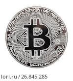 Купить «Монета Биткоин на белом фоне», фото № 26845285, снято 13 августа 2017 г. (c) Литвяк Игорь / Фотобанк Лори