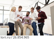 Купить «business team with tablet pc and coffee at office», фото № 26854965, снято 1 октября 2016 г. (c) Syda Productions / Фотобанк Лори