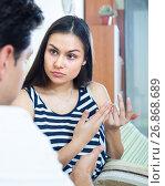 Купить «Young couple during indoor quarrel», фото № 26868689, снято 31 марта 2020 г. (c) Яков Филимонов / Фотобанк Лори