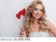 Купить «Woman and hearts», фото № 26868945, снято 15 декабря 2016 г. (c) Иван Михайлов / Фотобанк Лори
