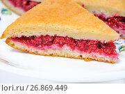 Купить «Кусок пирога со свежей малиной», фото № 26869449, снято 23 июля 2017 г. (c) Алёшина Оксана / Фотобанк Лори