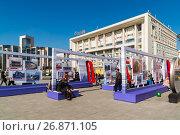 Купить «Moscow, Russia - August 31.2017. Exhibition dedicated to history of Moscow metro on Turgenevskaya Square», фото № 26871105, снято 31 августа 2017 г. (c) Володина Ольга / Фотобанк Лори