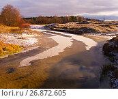 Купить «Речка с изгибом и первый лёд», фото № 26872605, снято 7 ноября 2007 г. (c) Игорь Камаев / Фотобанк Лори