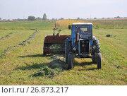 Купить «Трактор в поле убирает сено», фото № 26873217, снято 12 октября 2016 г. (c) Мартынов Антон / Фотобанк Лори