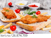 Купить «sandwich with ciabatta and Bread Crumb Coated fried pork chop», фото № 26874709, снято 18 января 2019 г. (c) Oksana Zh / Фотобанк Лори