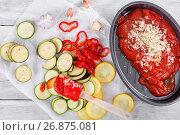 Raw ingredients for traditional French casserole - ratatouille. Стоковое фото, фотограф Oksana Zh / Фотобанк Лори