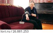 Купить «Pensioner - senior lady checks her health state with manometer - measures pressure, close up», видеоролик № 26881253, снято 21 июля 2018 г. (c) Константин Шишкин / Фотобанк Лори