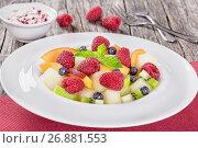 Купить «delicious fruit and berry summer salad decorated with mint leav», фото № 26881553, снято 19 января 2019 г. (c) Oksana Zh / Фотобанк Лори
