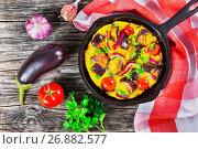 Купить «Single Serve Paleo Breakfast Skillet - scrambled eggs and vegeta», фото № 26882577, снято 16 августа 2016 г. (c) Oksana Zh / Фотобанк Лори