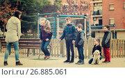 Купить «Children playing rubber band jumping game and laughing», фото № 26885061, снято 18 марта 2018 г. (c) Яков Филимонов / Фотобанк Лори