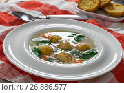 Купить «delicious wedding soup with meatball, carrots and spinach», фото № 26886577, снято 16 февраля 2019 г. (c) Oksana Zh / Фотобанк Лори