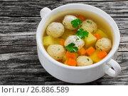 Купить «organic chicken soup with meatballs, carrot and potato», фото № 26886589, снято 15 октября 2019 г. (c) Oksana Zh / Фотобанк Лори