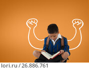 Купить «Student boy with fists graphic reading against orange background», фото № 26886761, снято 28 января 2020 г. (c) Wavebreak Media / Фотобанк Лори
