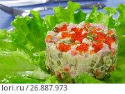 Купить «olivier- potato salad with chopped pickles, sausages and vegetables», фото № 26887973, снято 22 ноября 2018 г. (c) Oksana Zh / Фотобанк Лори